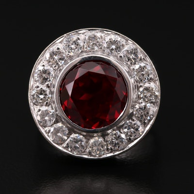 14K White Gold Synthetic Ruby and 1.44 CTW Diamond Ring