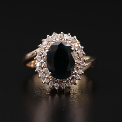 10K Gold 2.07 CT Sapphire and Diamond Ring