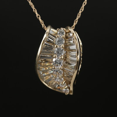 14K Yellow Gold Cubic Zirconia Pendant Necklace