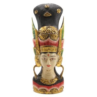 Indonesian Gilt and Polychrome Wood Female Figure