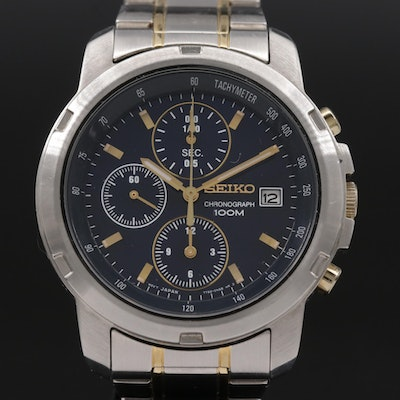 Seiko Chronograph 100M Stainless Steel Wristwatch with Date