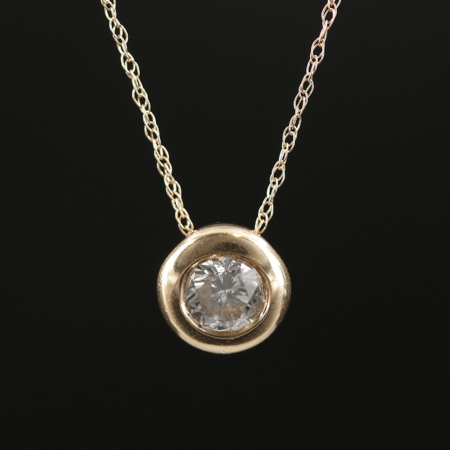 14K Yellow Gold 0.40 CT Diamond Pendant Necklace