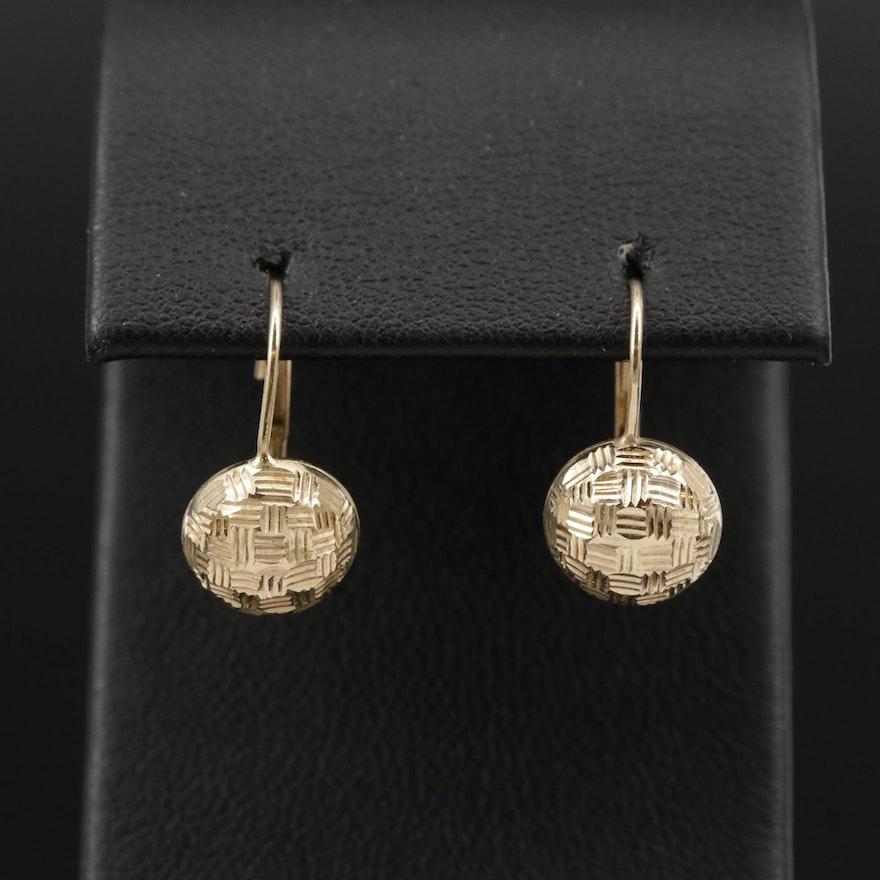 14K Yellow Gold Textured Drop Earrings