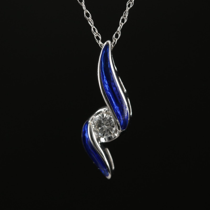 14K White Gold Diamond and Enamel Pendant Necklace