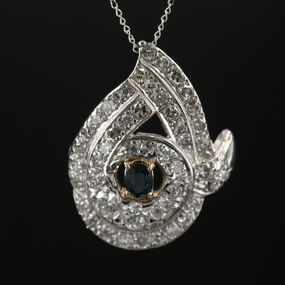 14K Sapphire and 1.55 CTW Diamond Pendant Necklace