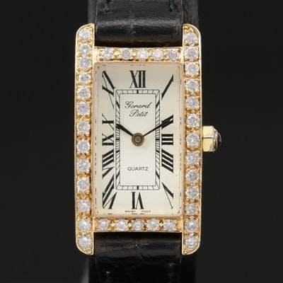Gerard Petit 18K Gold 1.05 CTW Diamond Quartz Wristwatch