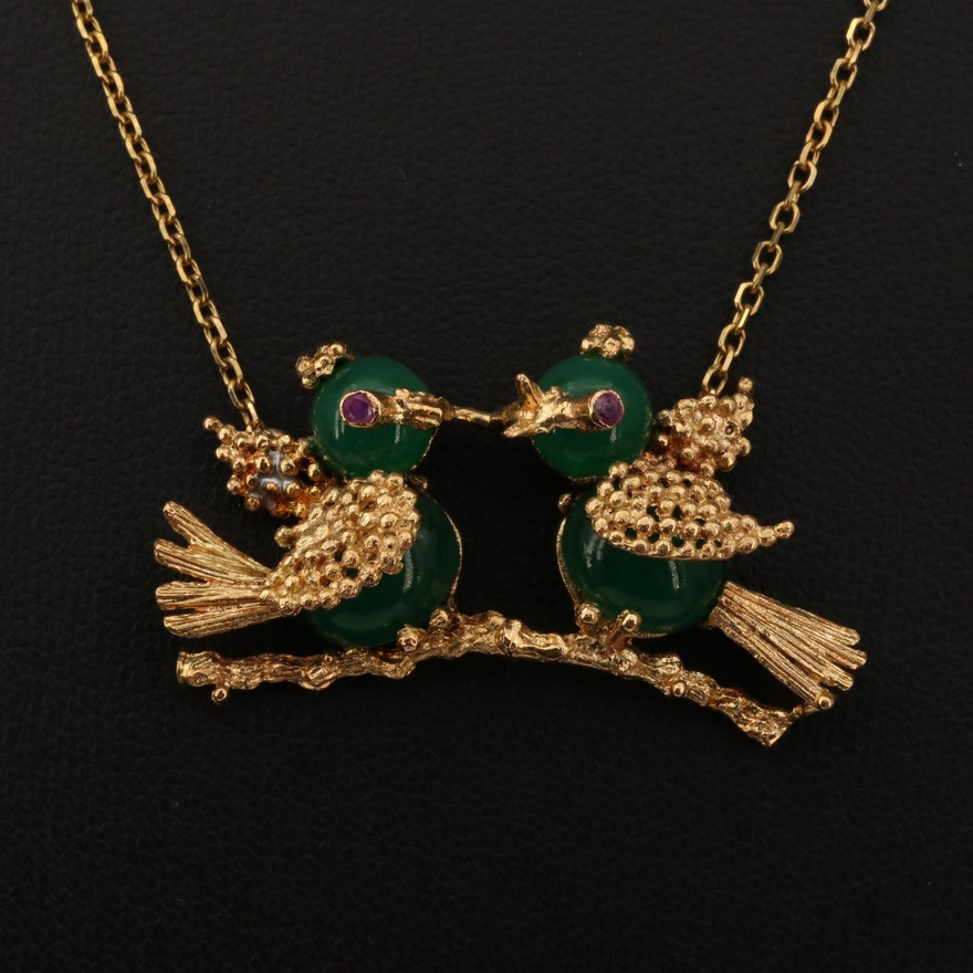 Vintage 14K and 18K Gold Ruby Bird Necklace with Glass Accents