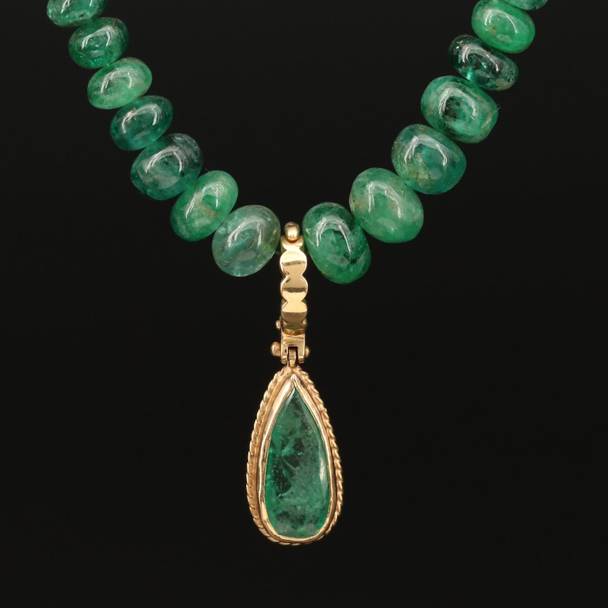 14K Gold Emerald Necklace with Enhancer Pendant