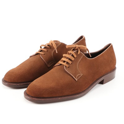 Men's Valentino Garavani Couture Brown Calf Suede Derby Shoes