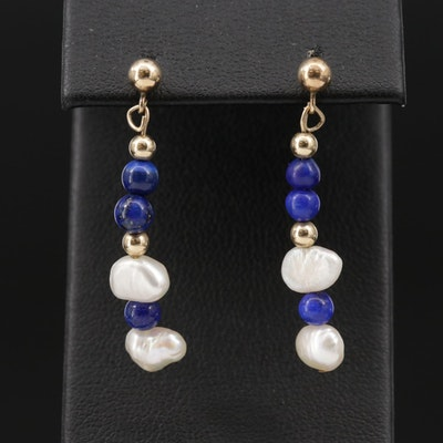 Seed Pearl and Lapis Lazuli Dangle Earrings