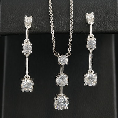 Sterling Cubic Zirconia Three Stone Necklace and Earring Set