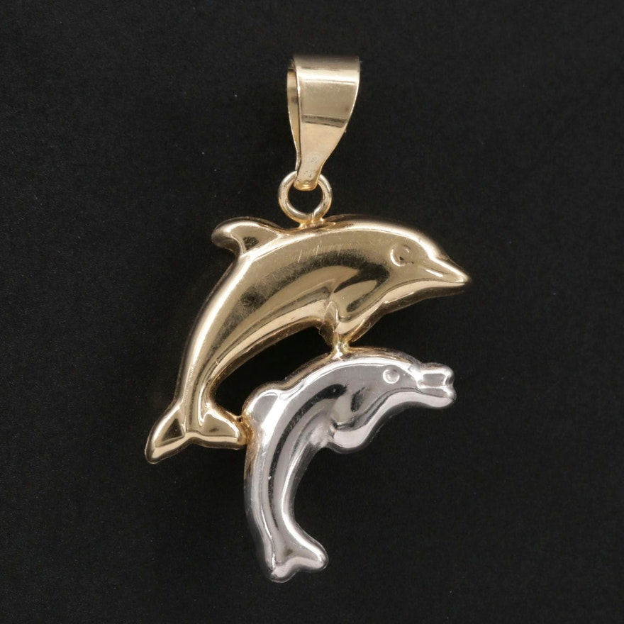 10K Yellow and White Dolphin Pendant