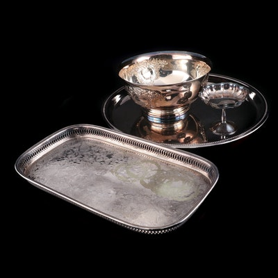 Wallace Silver Plate Punch Bowl with Other Silver Plate Serveware