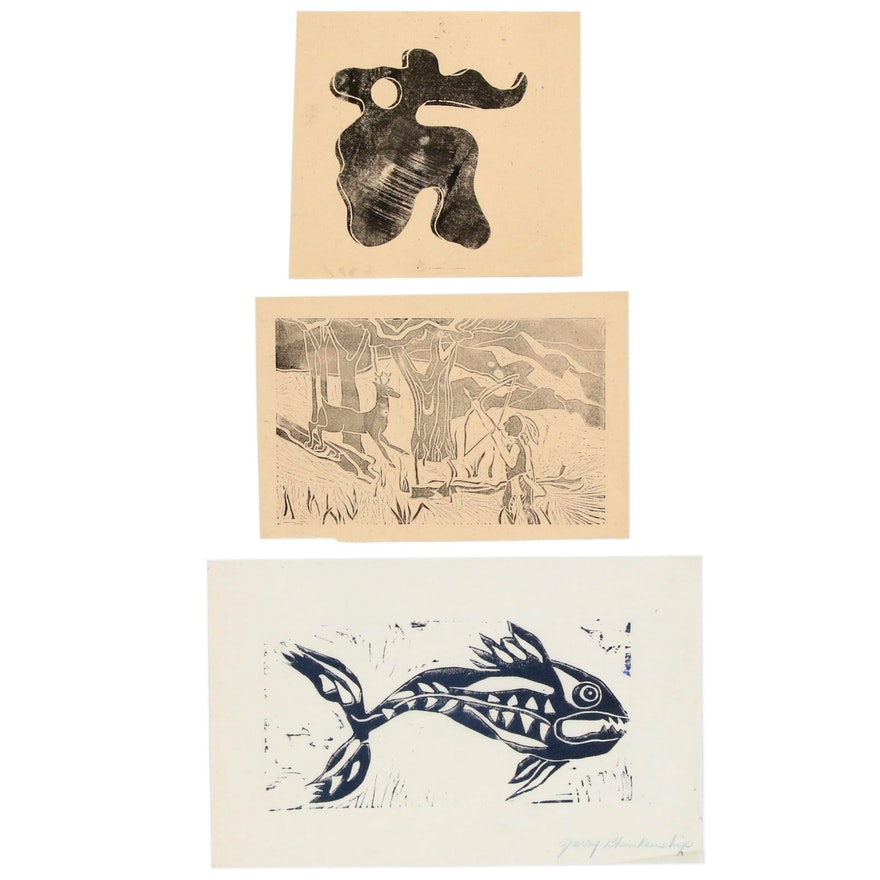 Linoleum Cut Prints Including a Fish, Abstract Form, and Hunting Scene