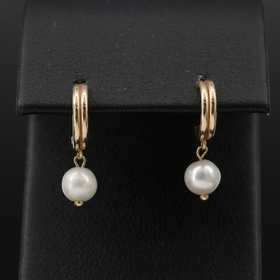14K J-Hoop Pearl Dangle Earrings