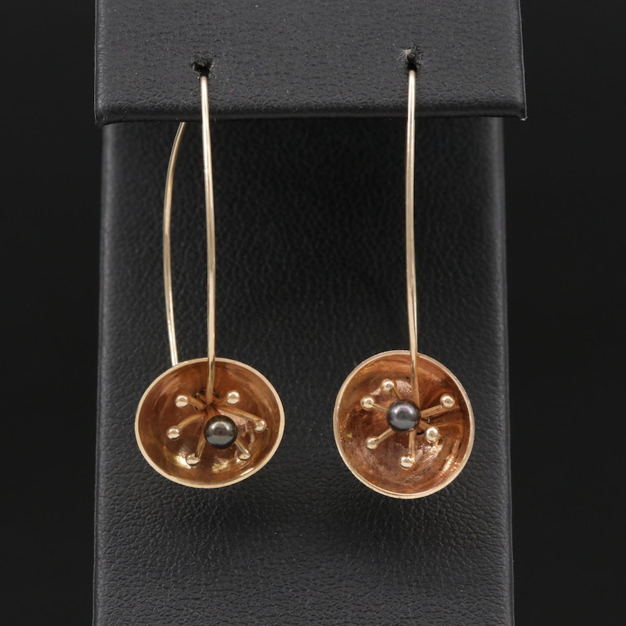 Modern 14K Yellow Gold Cultured Pearl Floral Earrings