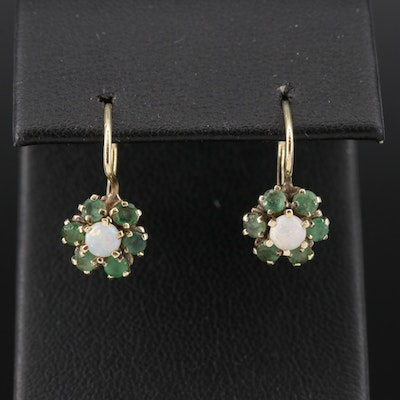 14K Gold Opal and Emerald Drop Earrings