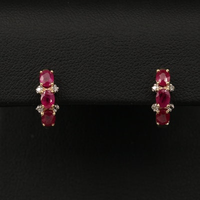14K Ruby and Diamond Huggie Earrings