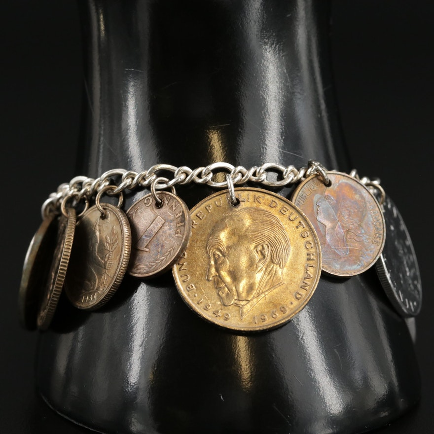 Sterling Silver Coin Charm Bracelet Including French, German, Italian and More