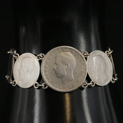 Vintage Bracelet with 1913 Russian 10-Kopek, Romanian Bani and Leu Coins