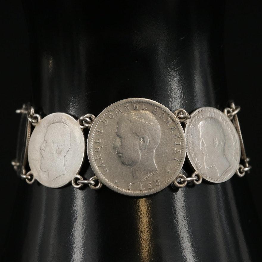 Vintage Bracelet with 1913 Russian 10-Kopek, Romanian Bani and Leu Coins