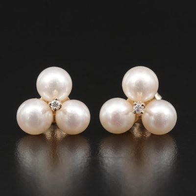 14K Diamond and Pearl Cluster Earrings