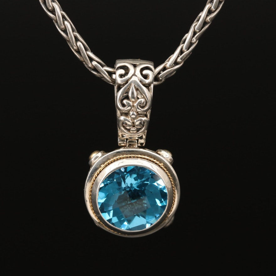 EFFY Sterling Blue Topaz Necklace with 18K Yellow Gold Accents