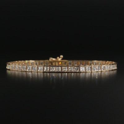 14K Yellow Gold Cubic Zirconia Line Bracelet