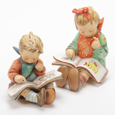 "Goebel ""Book Worm"" and ""The Scholar"" Porcelain Hummel Figurines"