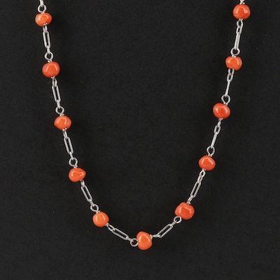 Platinum Coral Station Necklace