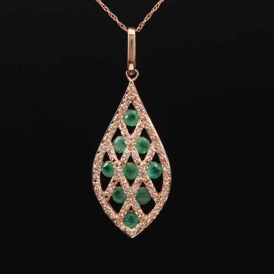 14K Gold Emerald and Diamond Pendant Necklace