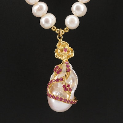 Sterling Silver Pearl and Ruby Floral Necklace