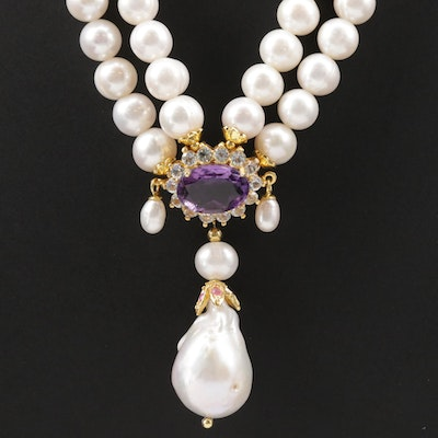 Sterling Silver Double Strand Necklace with Pearl, Amethyst and Ruby