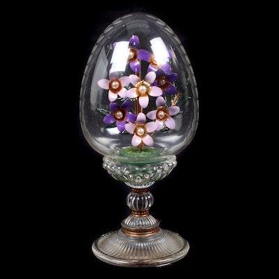 Fabergé African Violet Domed Austrian Etched Glass Egg