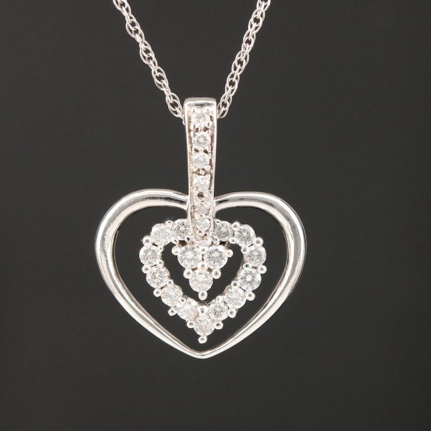 10K White Gold Heart Pendant on 14K Rope Chain