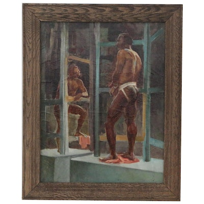 Oil Painting of Male Figures, Late 20th Century