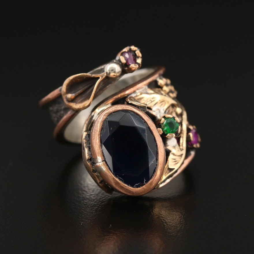 Sterling Silver Glass and Synthetic Ruby Wrap Ring