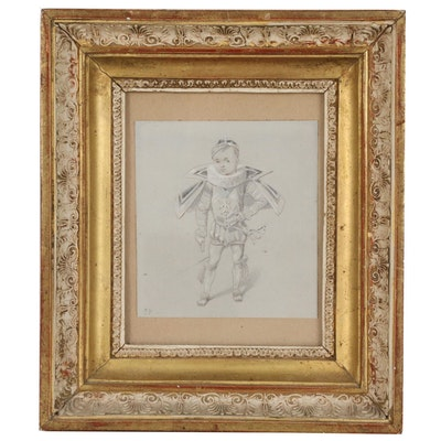 Attributed to Gustave Popelin Graphite and Gouache Drawing of Young Boy