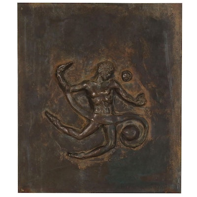 Felix de Weldon Bronze Relief Plaque with Classical Style Figure, 1972