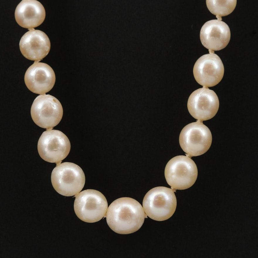 18K Gold Graduated Pearl Necklace