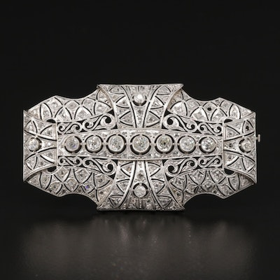 Art Deco Platinum 2.25 CTW Diamond Brooch