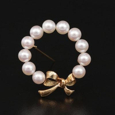 Mikimoto 14K Gold Pearl Wreath Brooch