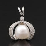 14K Gold Pearl and Diamond Pendant