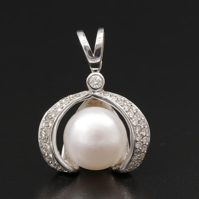 14K Gold Pearl and Diamond Pendant