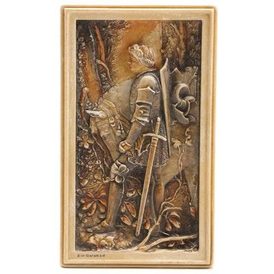 "Arthur Osborne Ivorex Plaque ""Sir Galahad"", Early 20th Century"