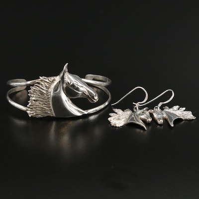 Sterling Silver Equestrian Earrings and Bracelet Set