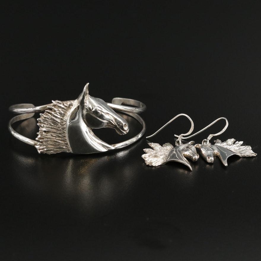 Sterling Silver Equestrian Earrings and Bracelet Set