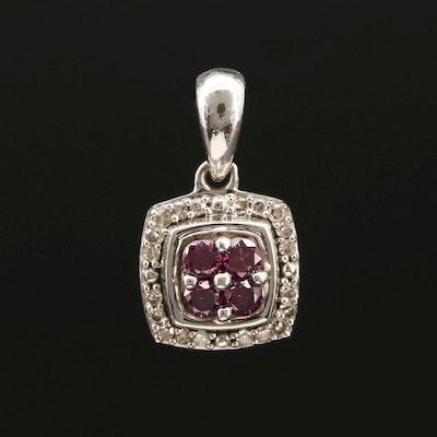 10K White Gold purplish Pink Diamond and Diamond Pendant