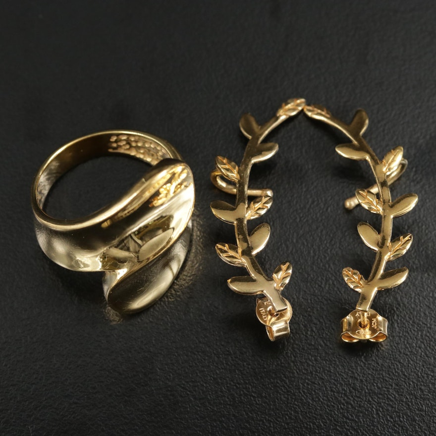 Sterling Silver Olive Branch Climber Earrings and Bypass Style Ring