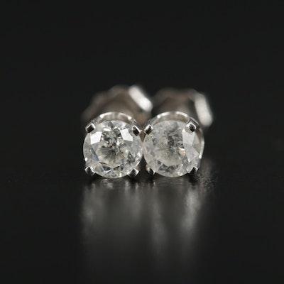 14K White Gold 0.56 CTW Diamond Solitaire Earrings